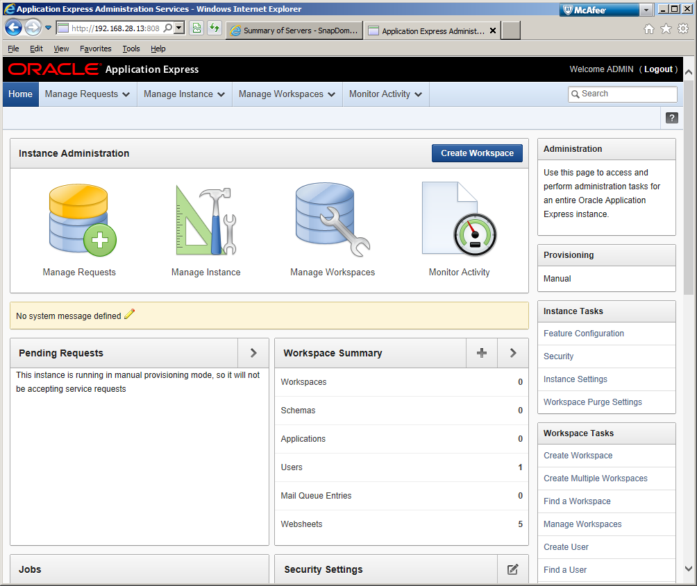 Installing APEX 4 2 and configuring Embedded PL/SQL Gateway