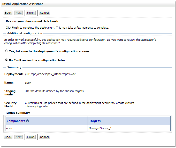 Installing and configuring the APEX Listener 2 0 1 on