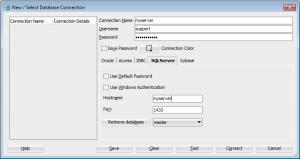 SQL Server connection in SQL Developer